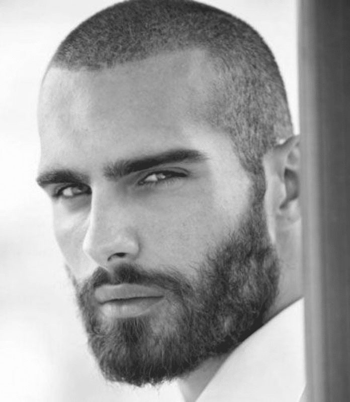 crew cut with beard for men