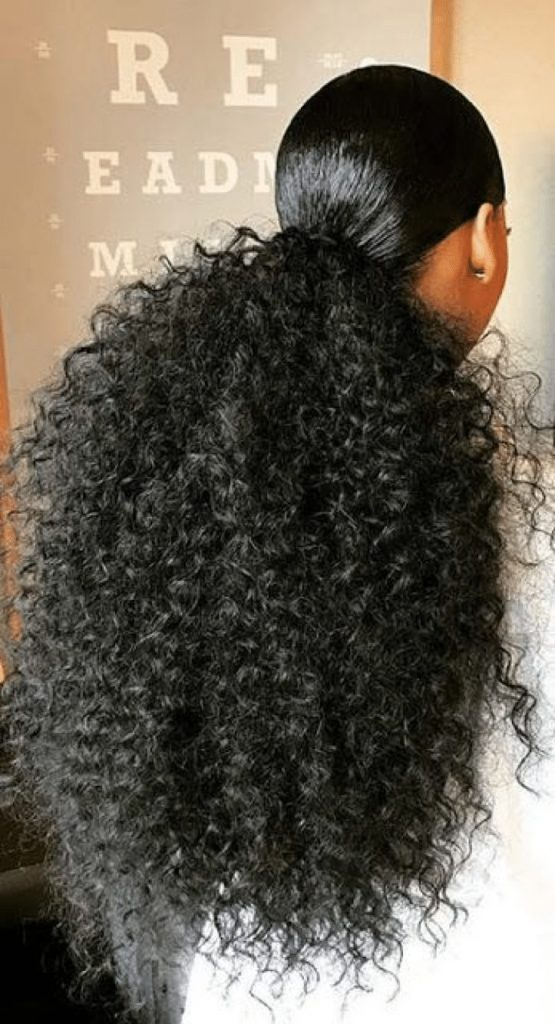 black curly ponytail hairstyles