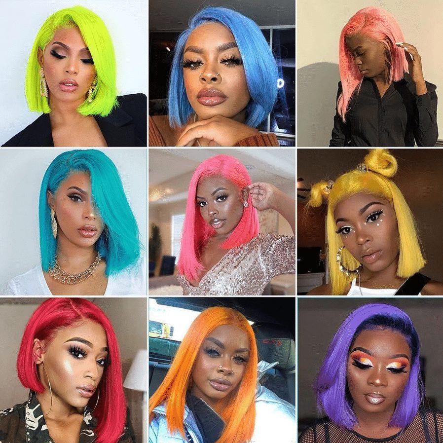 colorful human hair wig