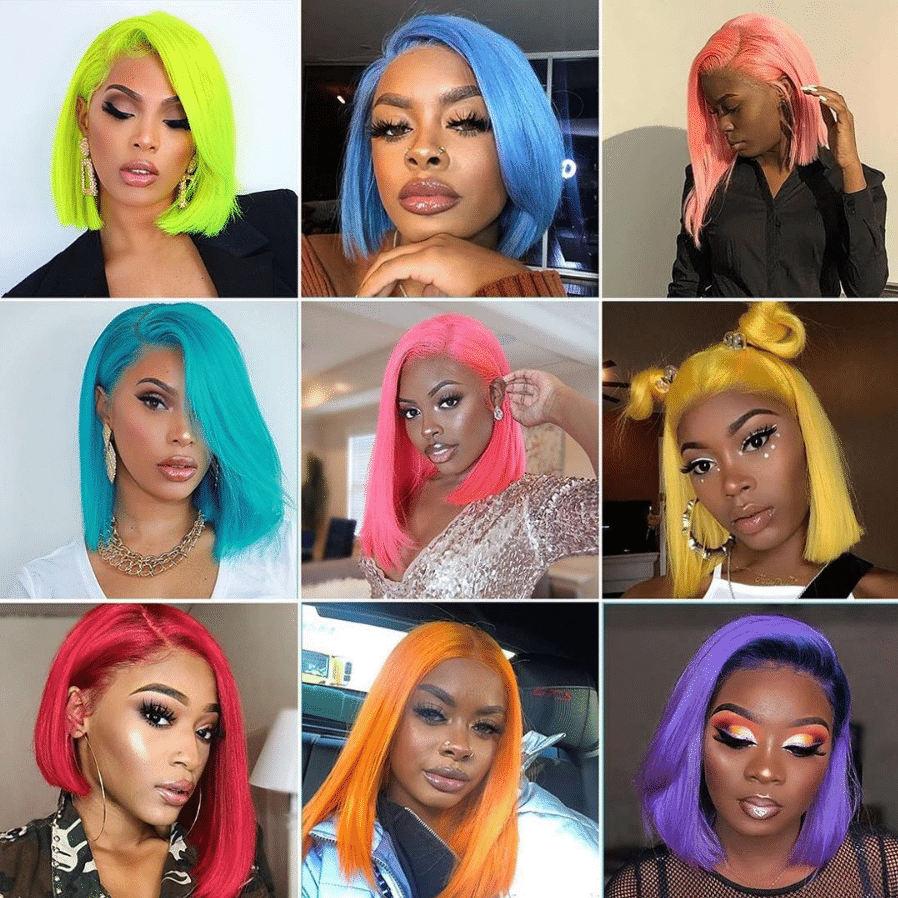 colorful human hair wig