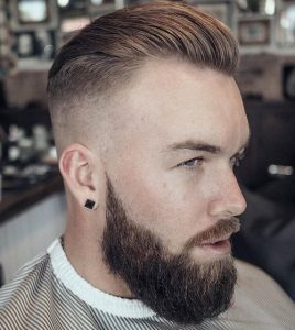 slick back hairstyle with beard