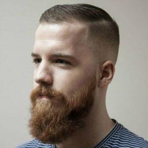 Very short hair with beard