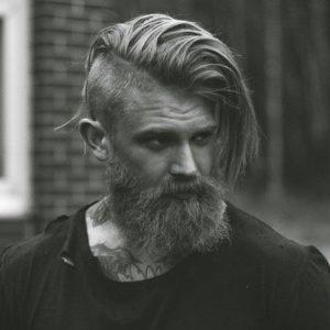 Long Hair Undercut with a Beard