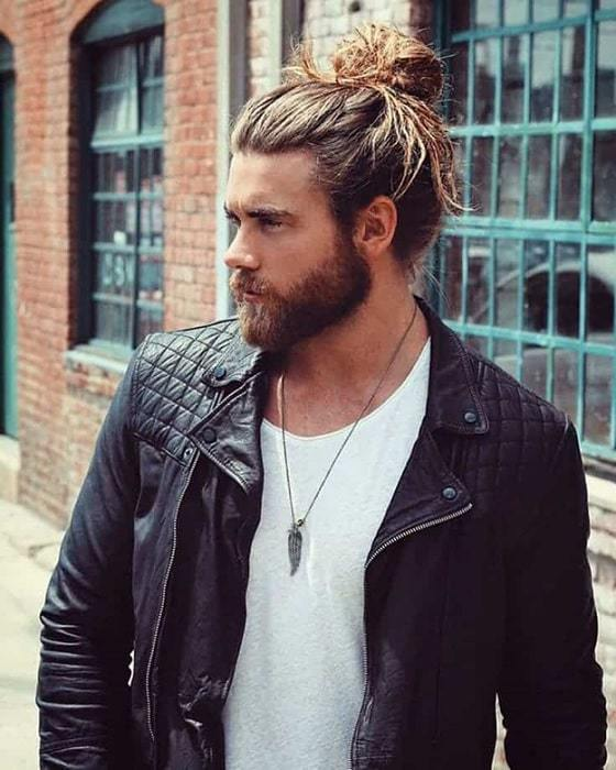 Man bun with a beard
