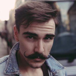 Short Hair with the Handlebar Mustache