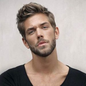 Textured Medium hair with a medium beard