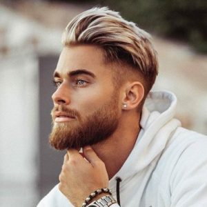 Beard haircut for men with big foreheads