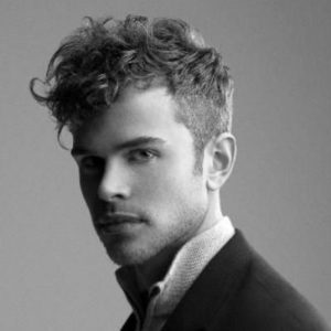 Short Curly Style haircut for men with big foreheads