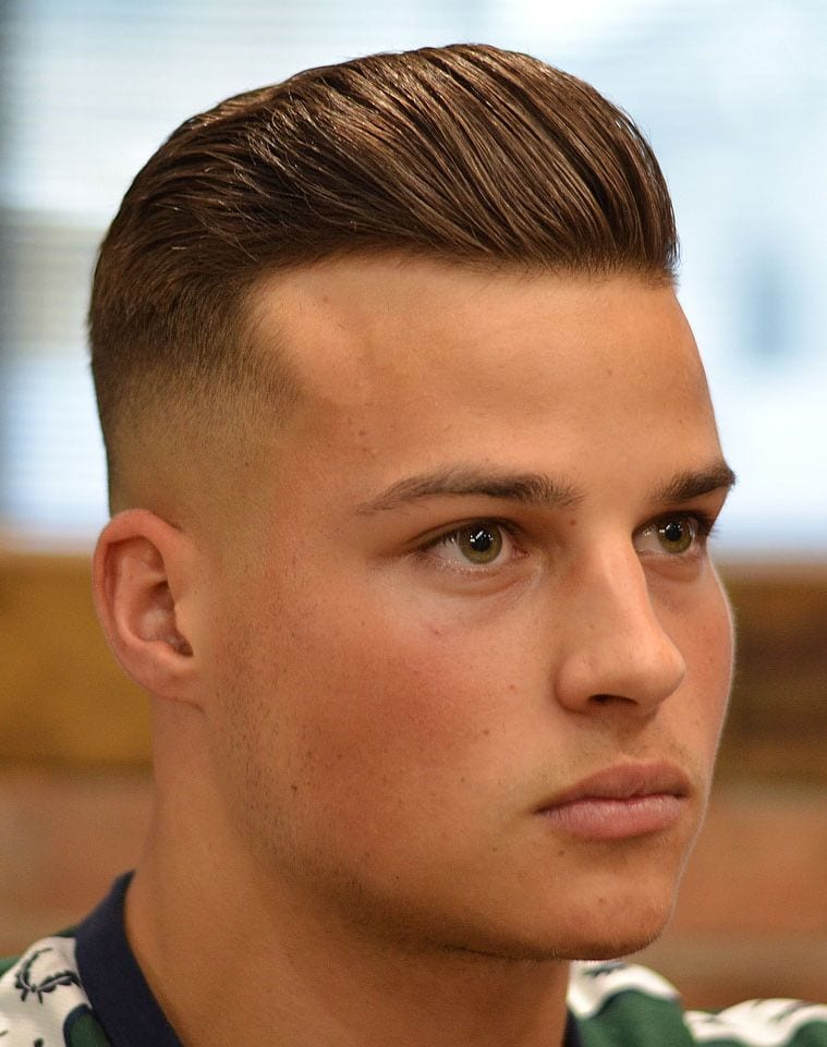 Short Pompadour haircut for men with big foreheads