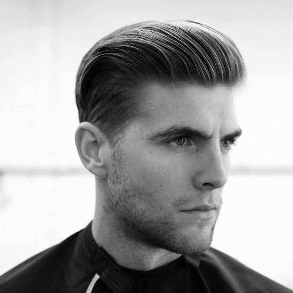 Slicked Back Style haircut for men with big foreheads