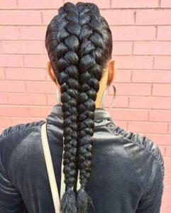 Braided Hairstyle with Jumbo French Braid
