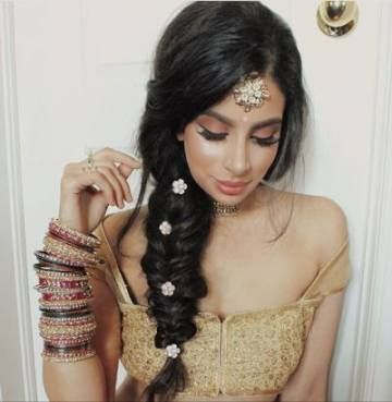 sectioned braid for indian weddings