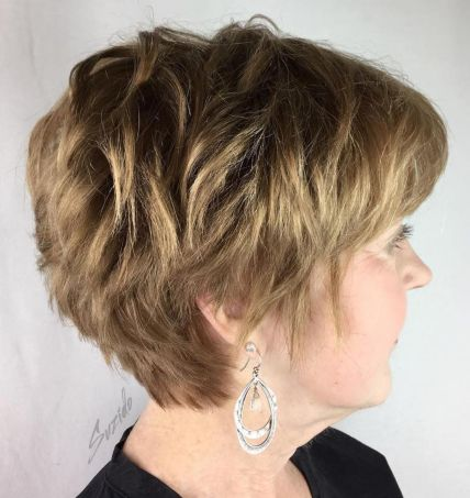 Choppy blonde pixie hairstyle for women over 50