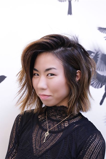 Edgy textured bob Asian hairstyle with highlights