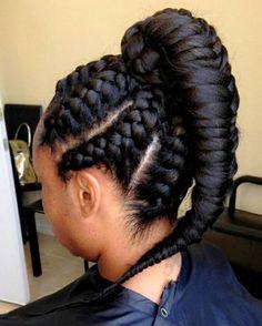 braided black ponytail