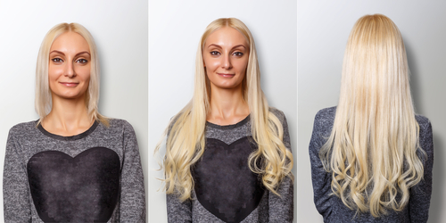 hair extensions very short hair before and after