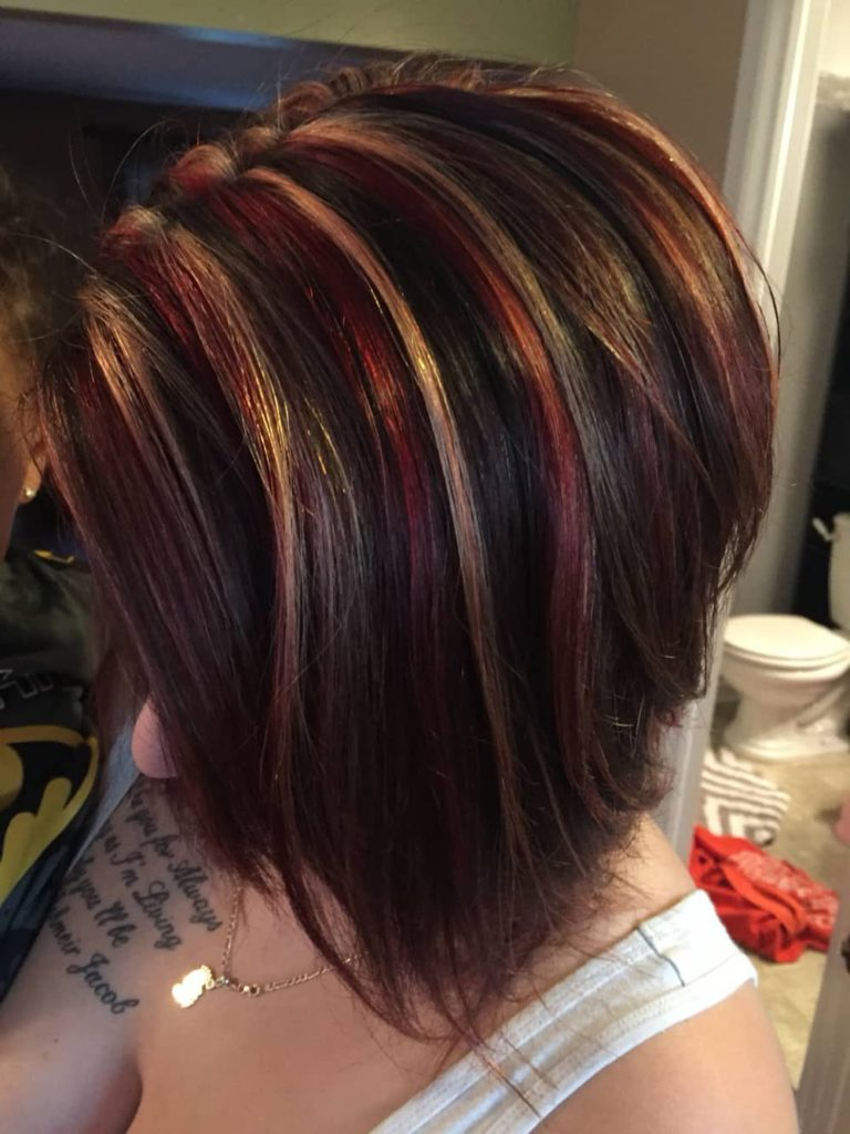 short dark hair with highlights and lowlights