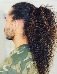 curly mens ponytail hairstyles