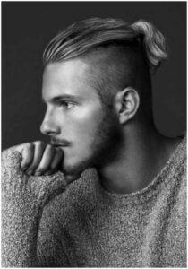short hair ponytail man