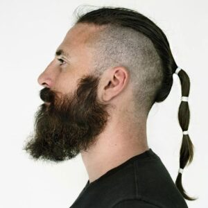 shaved side mens ponytail hairstyle