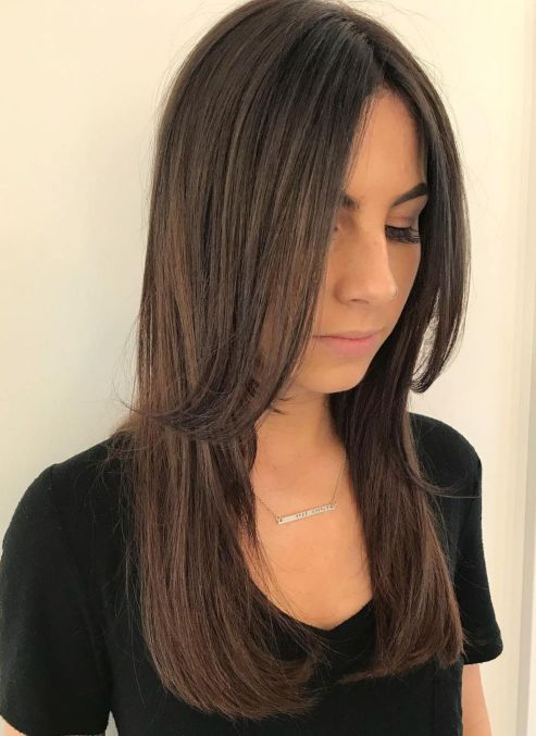 straight hairstyle for long thin hair