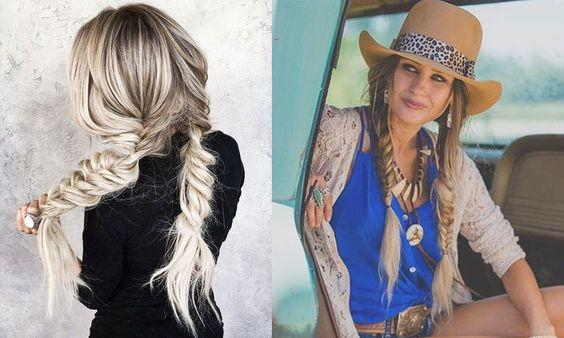 fishtail cowgirl hairstyles with hat