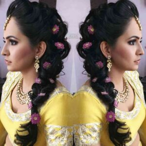 floral hairstyles for indian wedding function