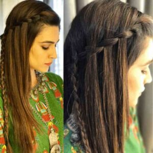 waterfall braids hairstyles for indian wedding function